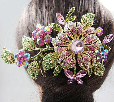 Fashion Bridal Hair accessories Orchid Flower Hair Comb Pink Rhinestone Crystal