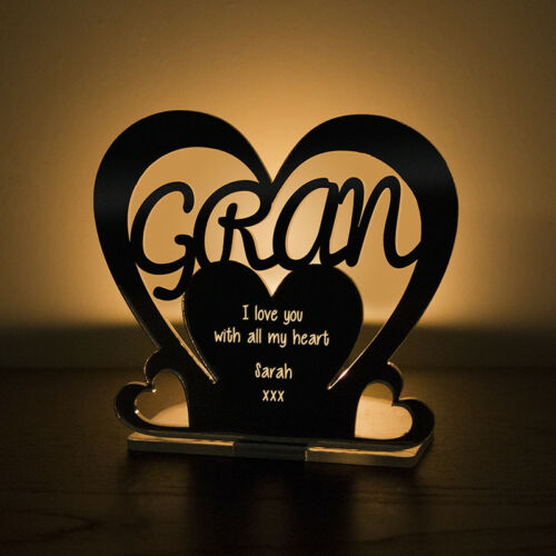 Personalised Tea Light Heart Candle Holder For GRAN Birthday Mother/'s Day Gift
