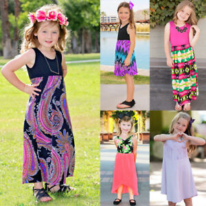 037579e719 Image is loading Toddler-Kids-Baby-Girls-Floral-Summer-Dress-Beach-