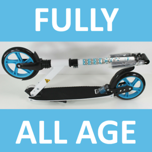 Federung-FULLY-BIG-WHEEL-Alu-Scooter-20-cm-WHITE-BLUE-Klapproller-yx7-2064