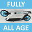 Federung-FULLY-BIG-WHEEL-Alu-Scooter-20-cm-WHITE-BLUE-Klapproller-yx7-2064 Indexbild 1