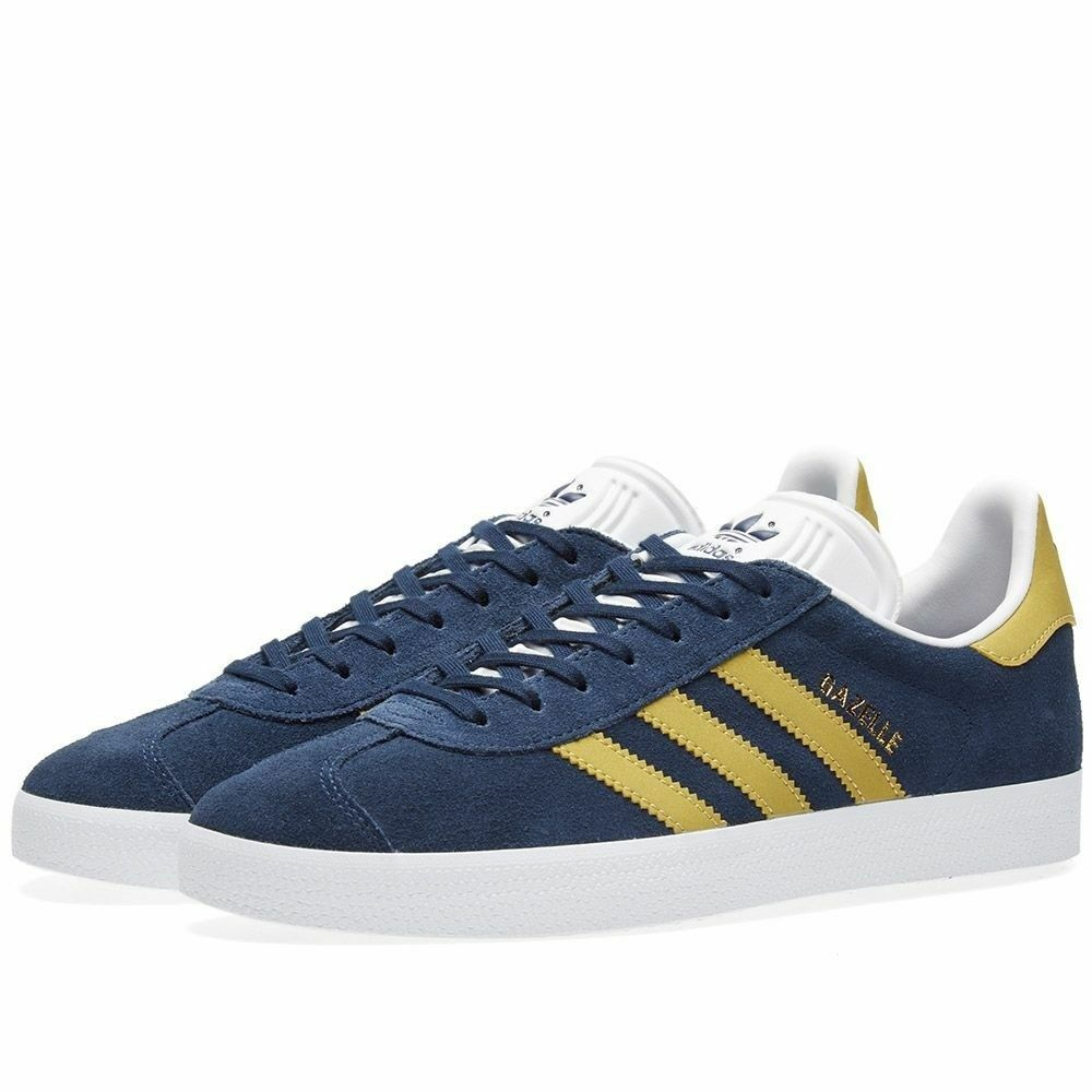 Neuf Adidas Gazelle daim bleu marine et or CP9705 Baskets Taille UK 6-