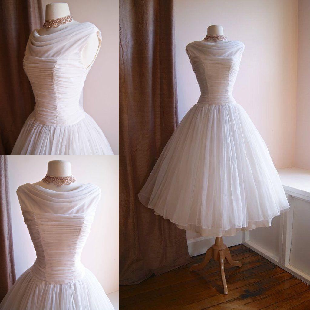 Vintage 1950s Tea Length Short Wedding Dress Beach Bridal Gowns Homecoming Dress