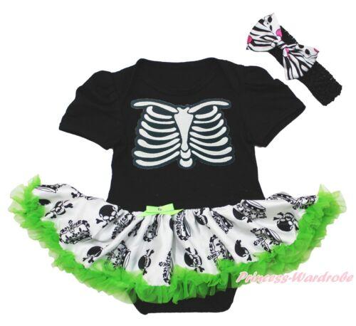 Halloween Skeleton Rib Black Bodysuit Crown Skull Skirt Girl Baby Dress NB-18M