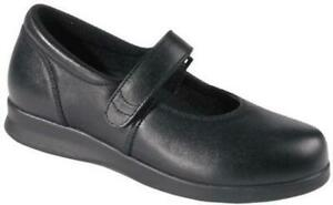 womens-black-DREW-bloom-II-mary-jane-orthopedic-shoes-strap-suede-leather-10-M