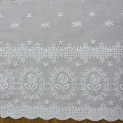 Embroidered Cotton Eyelet Lace Trim  White Lovely 1Yard  8 inch(20.5cm) Wide