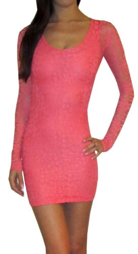 SALE Party UK Lace Jersey Stretch Bodycon Mini Long Sleeve Dress Pink 8 10 12
