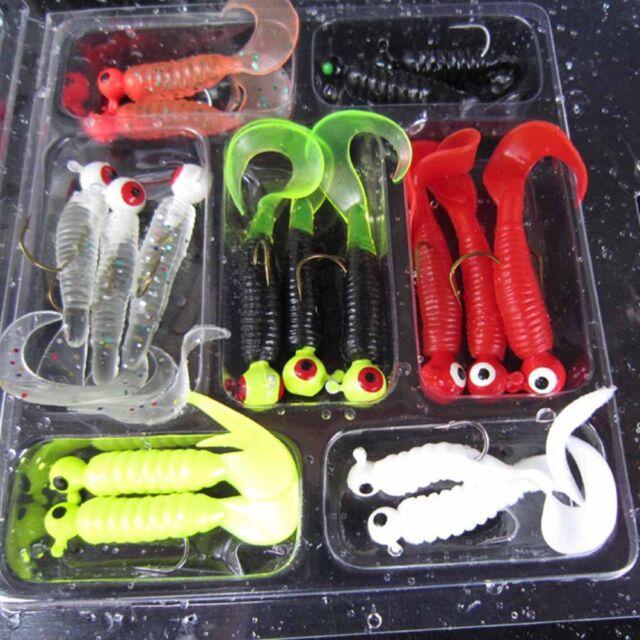 17pcs Fishing Lure Lead Jig Head Hook Grub Worm Tackle Soft Baits Shads Silicone