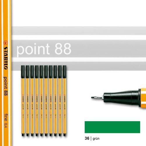 Strichstärke 0,4 mm 0,53€//Stück Stabilo Point 88 grün 10er Pack Fineliner