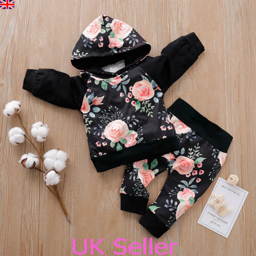 UK Newborn Kid Baby Girls Winter Clothes Hooded Tops Pants Outfits Set Tracksuit