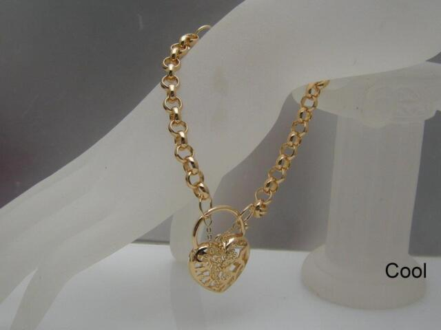 18ct 18K Yellow Gold GF Heart Filigree Locket charm Chain Women Solid Bracelet