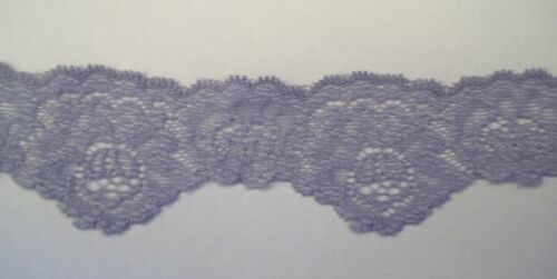 New USA Steel Silver GRAY 1-1//2 Stretch Lingerie Lace Floral Scalloped 5 yds