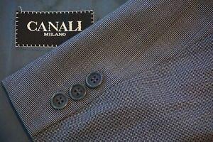 Canali-Blue-White-Grid-Pattern-100-Wool-Sport-Coat-Jacket-Sz-42R