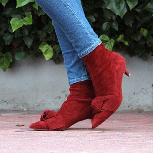 Zara Cuero rojo ladrillo botas al Tobillo Tacones Gatito cinta 6102 101 nos 7.5