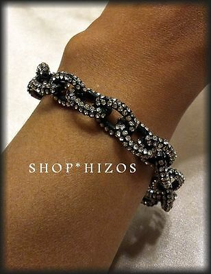BLACK MATTE GOLD SILVER PAVE CRYSTAL THIN CHAIN LINK STATEMENT CLASP BRACELET