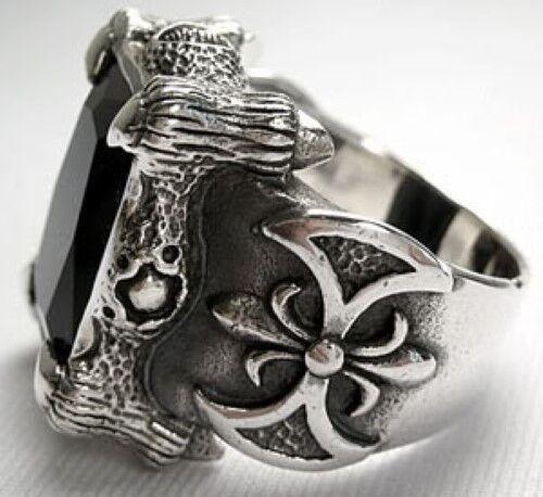 Amatista Dragon Claw /& hacha de plata de ley para hombre Anillo Biker Heavy Metal Gótico
