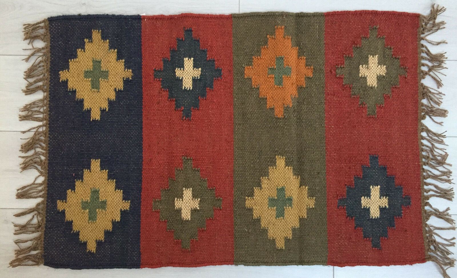 Piccolo Kilim Tappeto di Lana Indiano 60x90cm 0.6x0.9m Kelim Kelim Kelim Bordeaux Blu Scuro 533d1d