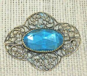 Antique-Victorian-Art-Nouveau-Brass-Robin-Eg-Blue-Glass-Sash-Pin-Brooch-Filigree