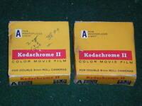 2 Vintage Kodak Kodachrome II Color MOVIE Film A Double 8mm Roll SEALED NOS