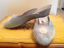 Boudoir Bridal SLIPPERS Feather Satin Heels Sequin Marabou Burlesque Lingerie