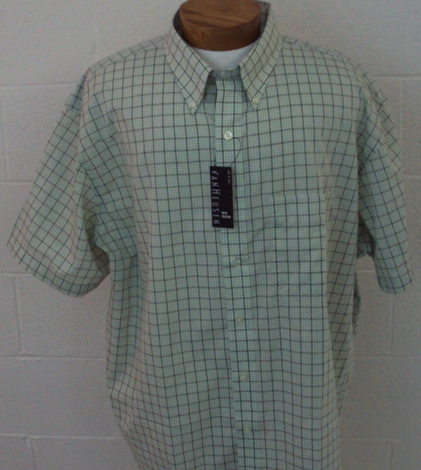 NWT Sport Shirt Big and Tall Van Heusen SS Men No Iron Green Plaid New XLT