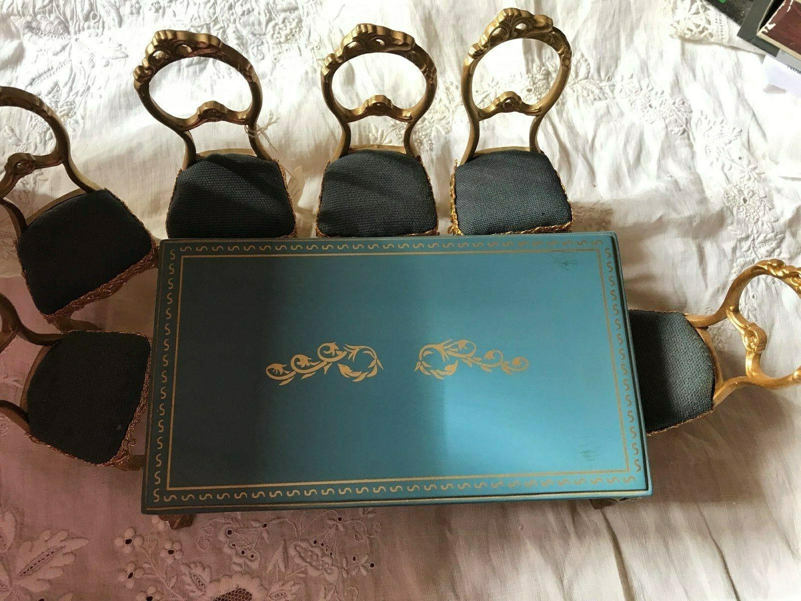 Pour Maison de Poupées Victorienne Table et ses 6 chaises