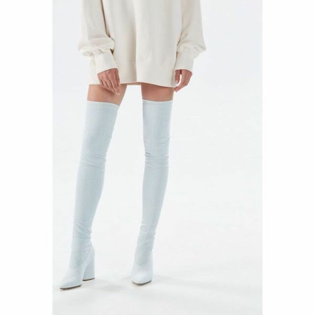 hot new products diverse styles new release YEEZY SEASON 4 thigh high bleached stretch denim blue jeans heel boots 40  NEW