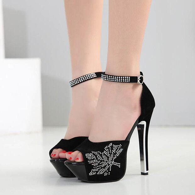 Sandali tacco stiletto 14.5 cm eleganti negro plata plateau simil simil simil pelle 9771 510f25