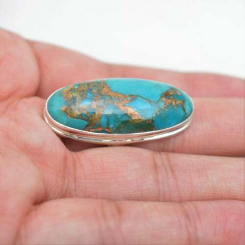 Details about  /925 Solid Sterling Copper Turquoise Ring-Handmade Silver Ovel  For Men And Women