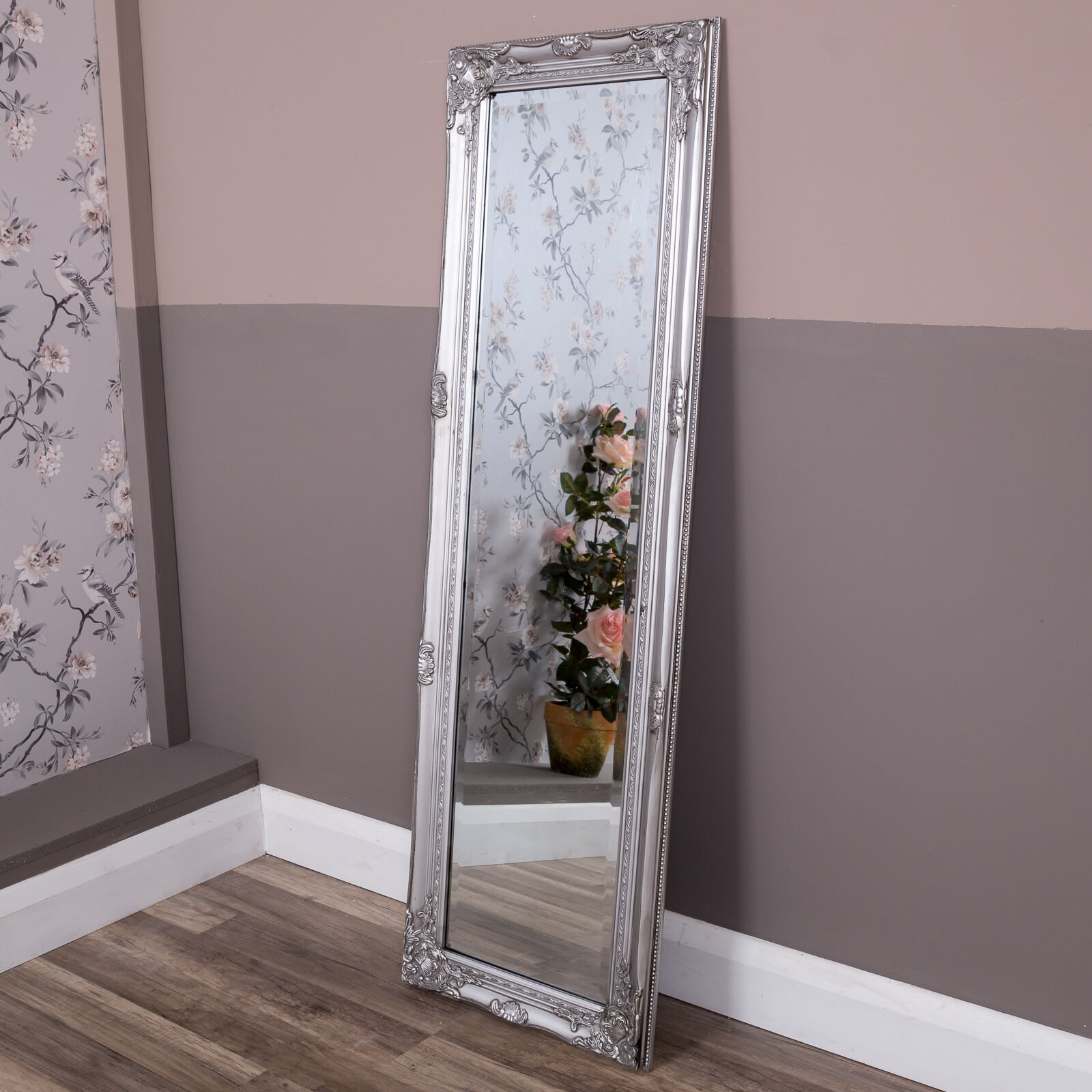 Tall slim silver wall mirror shabby vintage chic french ornate tall slim silver ornate wall mirror full length vintage chic antique home decor amipublicfo Choice Image