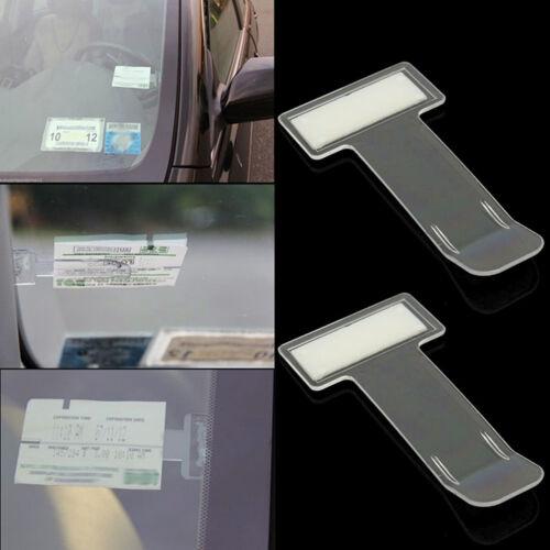 2Pcs Car Vehicle Windscreen Parking Ticket Permit Holder Clip Sticker Window Kit