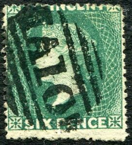 ST VINCENT-1871 6d Deep Green with Watermark Sideways Sg 16a GOOD USED V27275