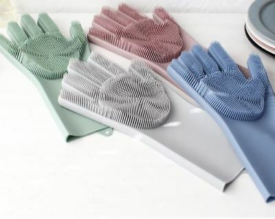 1 Piece 2 in 1 Silicon Dish Scrubber Glove 100/% Food Grade Cleaning Dishwashing