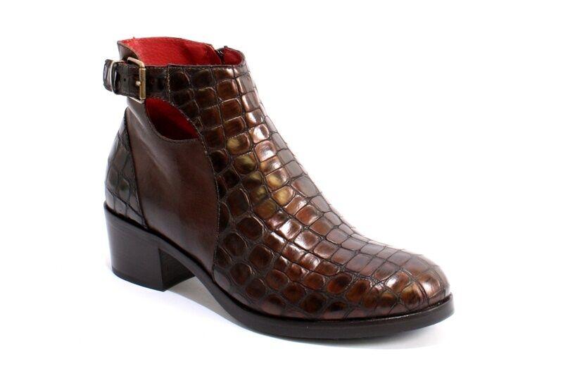 Donna Piu 9781 Brown Pelle Crocodile-Print Zip-Up Ankle Stivali 36 /   6