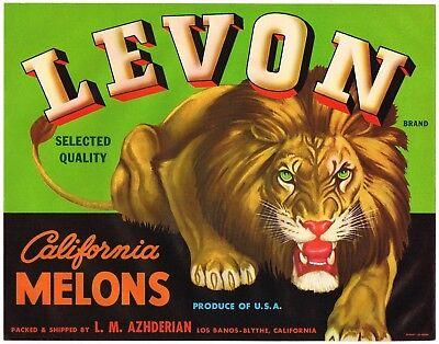 LION LEVON CRATE LABEL LEO BLYTHE LOS BANOS VINTAGE ORIGINAL  ADVERTISING NOS