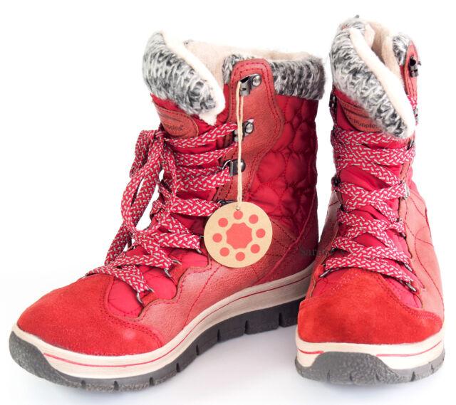 Hush Puppies Schnür Boots 36 LEDERimitat Stiefelette Rot R Tex Relife Shock NEU