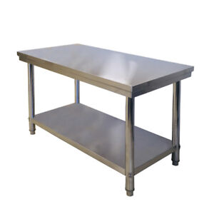 Details About 1200 600 800mmh 304 Reinforced Steel Kitchen Bench Workbench Prep Table Home