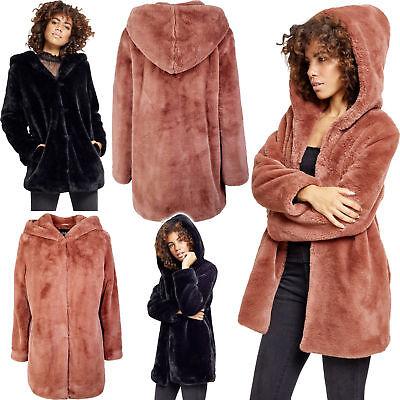 Dettagli su URBAN CLASSICS Giacca Cappotto donna Teddy Coat con cappuccio TB2375