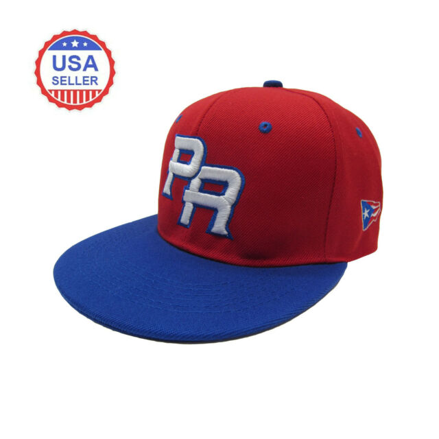 231e209f1 Puerto Rico PR Fitted Baseball Cap Hat Red Royal