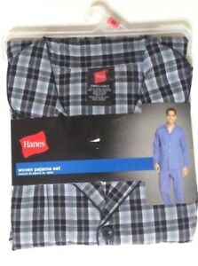 c5ff5adaa220 Hanes Mens Woven Pajamas Shirt Pants 2 pc Set Sleepwear NWT Black ...