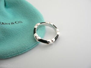 4cbe2bb4eba08 Details about Tiffany & Co Silver Black Enamel Signature X Stacking Ring  Band Sz 5 Rare