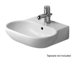 NEW-Duravit-Foster-470mm-Handrinse-Basin-with-Overflow-White-0419470000