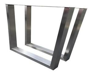 Image Is Loading Stainless Steel Legs Hand Brushed Finish Trapezoid Custom