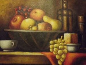 traditional-still-life-fruit-large-oil-painting-canvas-classic-food-art-original