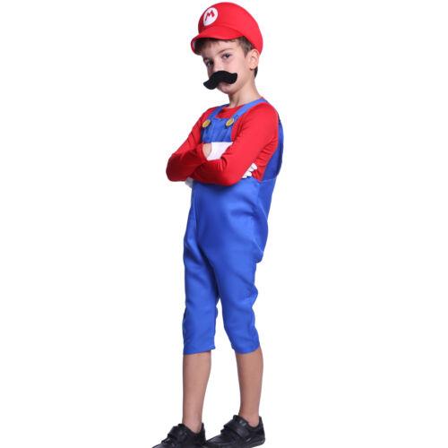 Men Boys Super Mario Luigi Bros Workmen Plumber Uniform Carnival Fancy Dress Set