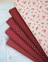 Penny Red Wine 100% Cotton Fabric floral dots checked Quilting fabric cut f4/140