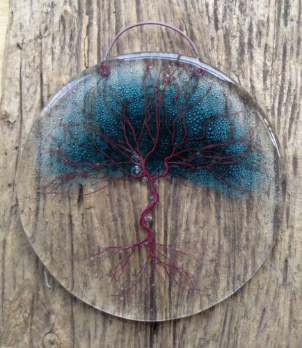 Fenêtre Arbre de vie Fused Glass Wall Hanger arbre de dessins, sun catcher