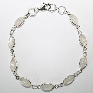Armband-Mondstein-Silber-925-Blau-schimmernd-9-Cabochon-Edelsteine-Handschmuck