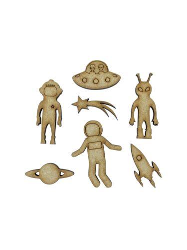 20x Mix Space UFO Alien Rocket 4cm Wood Craft Embelishments Laser Cut Shape MDF