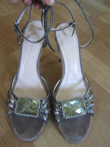 zapatos Tamaño 40 de Grey Sandalias Green tiras Suede Rhinestone Tahari Tacones Elie xvTSq0wB4v